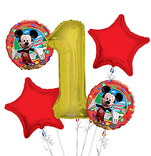 Mickey Mouse Balloon Bouquet 1st Birthday 5 pcs