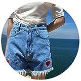 Denim Shorts Women Casual Pocket Jeans Shorts Girls Shorts Heart Embroidery High Waist Shorts,Blue,XL