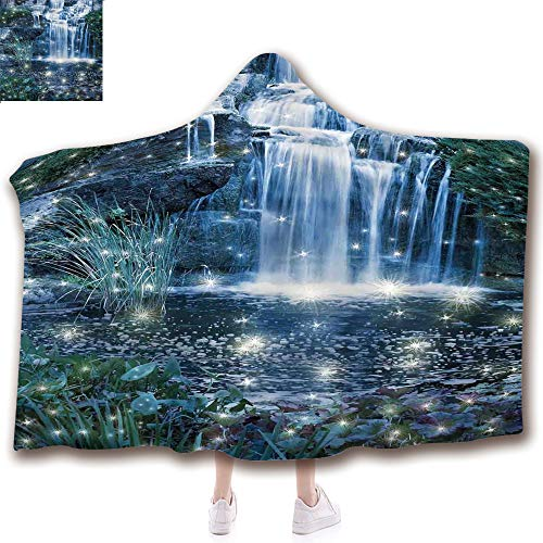 - Fashion Blanket Ancient China Decorations Blanket Wearable Hooded Blanket,Unisex Swaddle Blankets for Babies Newborn by,Cascade at the Night on the Water Fresh Landscape,Adult Style Children Style