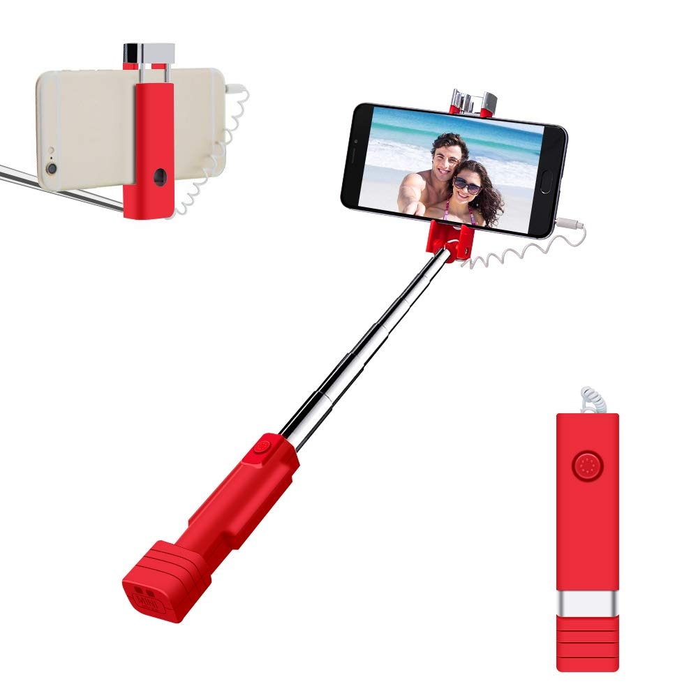 Mini Selfie Stick, atongm Cell Phone Selfie Sticks Extendable Mini All in One Wire Selfie Stick for Cellphone(iPhone, Android)(Pink) M2X1003
