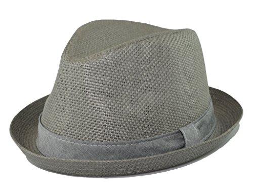 be32ba9ebea72 How D Hats Men s Fedora Cuban Style Upturn Short Brim Straw Hat (L XL) 23  In   7 3 8   59Cm Gray
