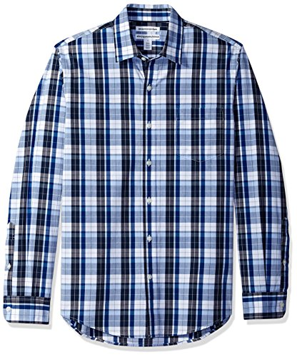 Amazon Essentials Men's Slim-Fit Long-Sleeve Casual Poplin Shirt, Blue/White Plaid, Small
