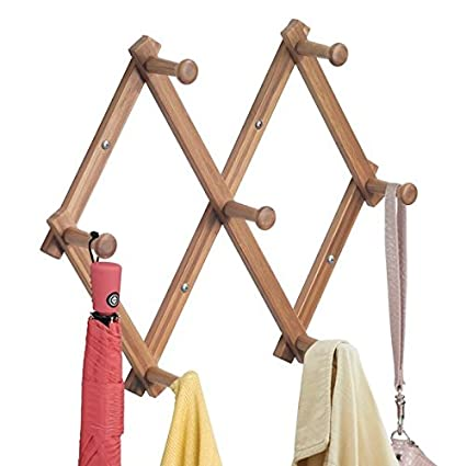 mDesign Wall Mount Entryway Expanding Storage Rack for Jackets, Coats, Hats, Scarves - Natural Bamboo