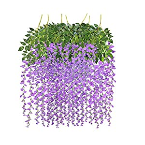 See Greeen Artificial Fake Wisteria Vine Garlands and Flowers for Wedding, Anniversary, Baby Shower, Wall Backdrop and Party Decoration(Purple) 104