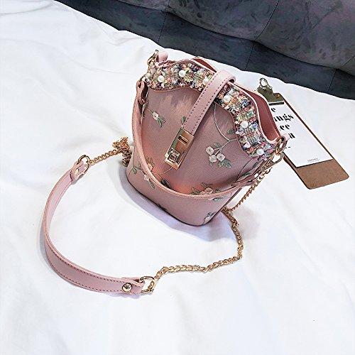 JUSTYOU-POPO Señoras Bolso Nuevo Bolso de Moda Retro Pequeño Bolso de la Cadena del Bolso Simple Messenger BagGift, C D