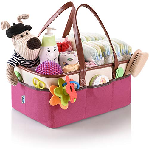 (Baby Diaper Caddy Organizer by Oranzer (Pink) - Nursery Storage Bin for Baby Essentials and Portable Newborn Diaper Basket - Helps to Organize and Tote all Baby Items with)