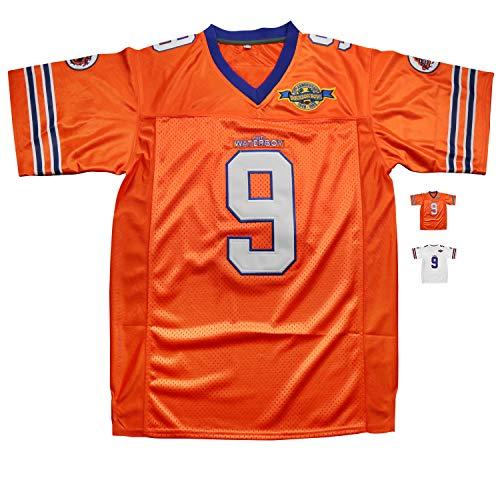 Micjersey Waterboy Football Jersey, Stitched #9 Bobby Boucher 50th Anniversary Movie Football Jerseys S-XXXL (Orange, M)
