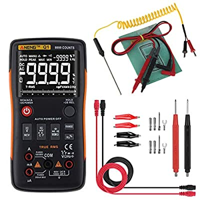 Numkuda Multi Testers Q1 True-RMS Digital Multimeter Button 9999 Counts Analog Bar Graph AC/DC Tester