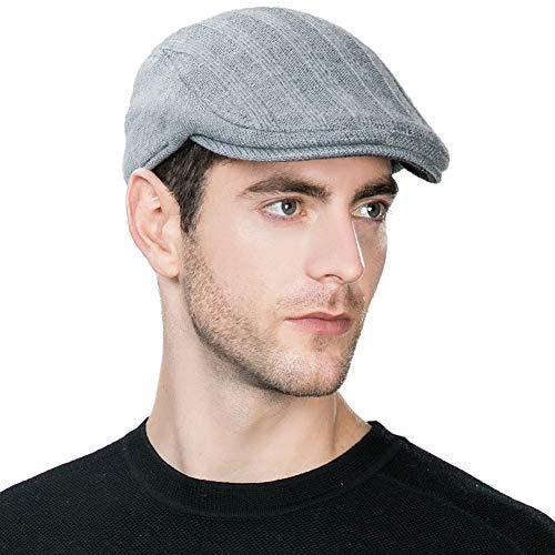 (Mens Newsboy Cap Winter Fitted Hat Hunting Wool Irish Ivy Flat Cap Warm Gatsby Hat Gray Grey L XL SIGGI)