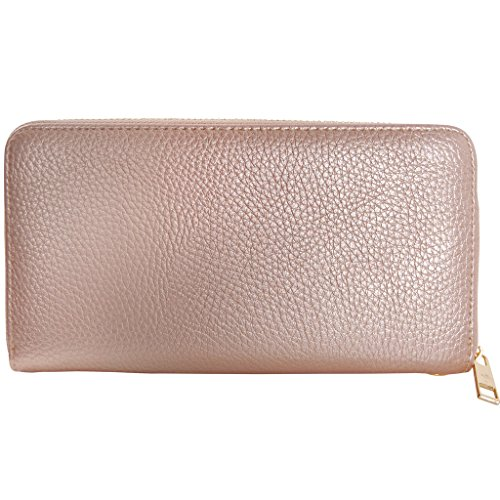 Humble Chic Zip Around Wallet - Vegan Leather Credit Card Holder Wristlet Clutch, Champagne Gold, Pale Rose Gold