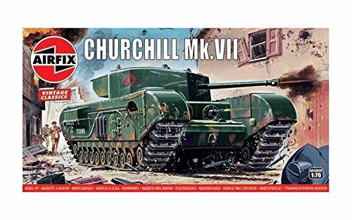 Airfix Quickbuild A01304V Air fix Vintage Classics Churchill MK VII Tank 1, 76 Military Ground Vehicle Plastic Model Kit, Gray (Airfix Models)