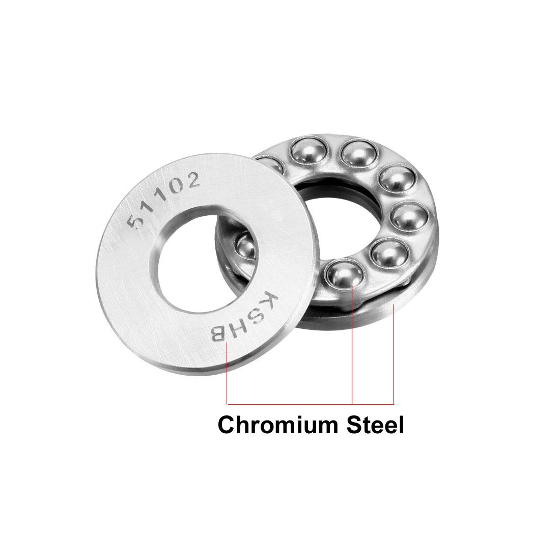 Pack of 2 sourcing map 51102 Single Direction Thrust Ball Bearings 15mm x 28mm x 9mm Chrome Steel