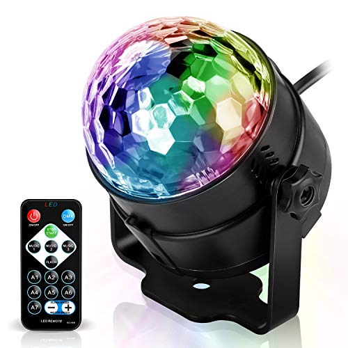 Vnina Disco Ball Party Lights -Led Party Lights With Remote Control DJ Lighting ,Mini Strobe Lights Karaoke Decoration 7 Colors Gifts for Kids Birthday Indoor Gatherings Christmas ()