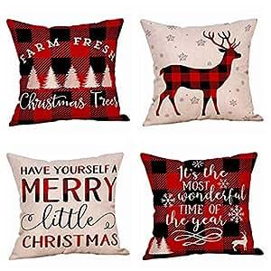 Limpiar! Fundas de almohada de Navidad, funda de cojín de ...