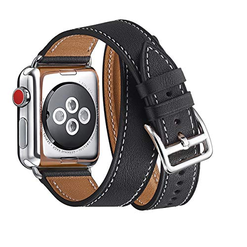 WFEAGL Compatible i Watch Band 38mm 40mm 42mm 44mm, Top Grain Leather Double Tour Band for Watch Series 4,Series 3,Series 2,Series 1 (Black Band+Silver Adapter, 42mm 44mm)