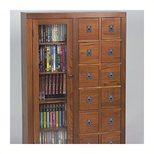 Leslie Dame GL06-0518-78  Glass Door Solid Oak Multimedia Storage Cabinet, Espresso (Apothecary Media Storage)