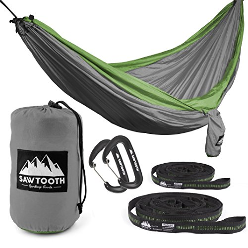 Sawtooth Double Camping Hammock with Straps and Carbiners - Military-Grade Parachute Nylon with Utility Loops and Storage pocket - Portable and Lightweight (Green) - Nylon Butt Pack