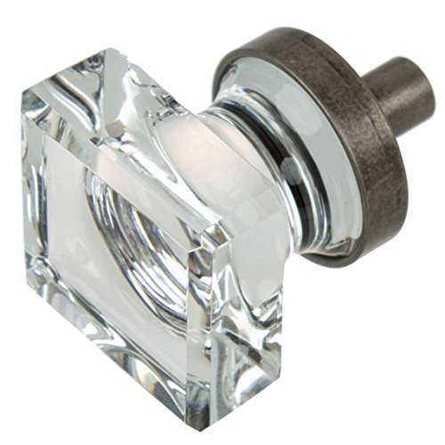 GlideRite Hardware 900025-AP-10 1 inch Square Glass Aged Pewter Cabinet Knobs 10 Pack, ()