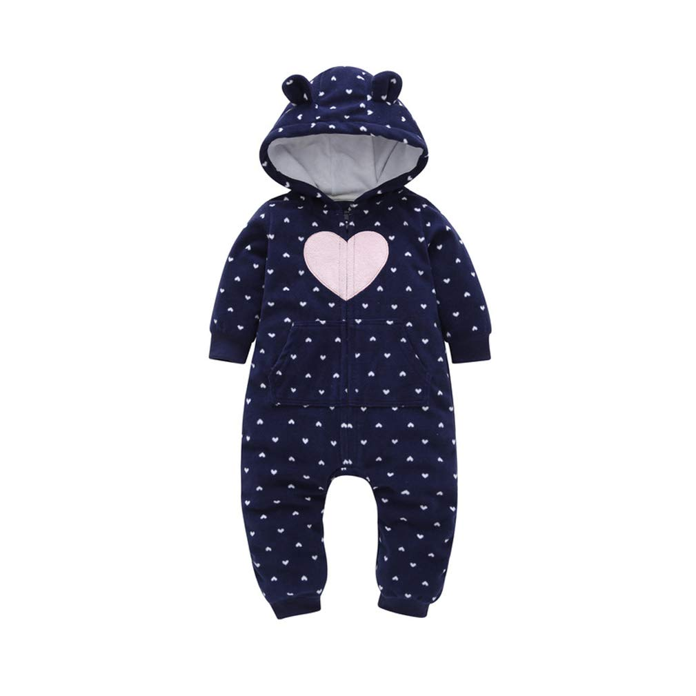 EISHOW Baby Boy Girl Cartoon Thicker Fleece Hooded Pajamas Romper Warm Jumpsuit Zipper Pockets Sleepwear Outfits