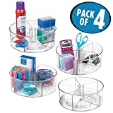mDesign Office Supply Lazy Susan Turntable Organizer for Home Offices, Craft Rooms - Pack of 4, Clear