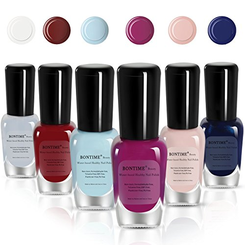 (BONTIME Non-Toxic Nail Polish - Easy Peel Off & Quick Dry Water Based Nail Polish Set for Women,Teens,Kids(6 Colors,0.27 fl oz))