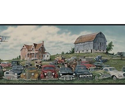 Junkyard Field of Cars Wallpaper Border - Black Edge…