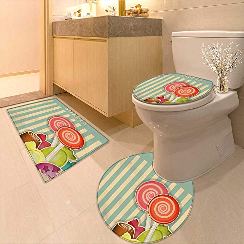 Lid Toilet Cover Old Candy Store Chocolates Lollipops White Stripes on Baby Blue Backdrop Multicolor Personalized Durable