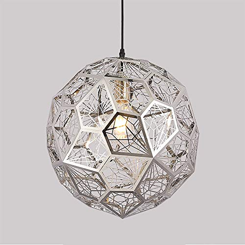 (Shfmx Modern Metal Ball Pendant Light Single Head Diamond Chandelier Adjustable Chain Titanium Gold)