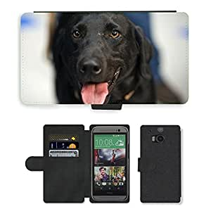 Hot Style Cell Phone Card Slot PU Leather Wallet Case // M00108749 Dog Labrador Retriever Canine // HTC One M8
