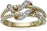 10k Yellow Gold Double Rope Diamond Ring (0.01 cttw, I-J Color, I2-I3 Clarity), Size 7