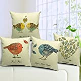 【Bailand】® Set of 4 Country Lovely Birds Cotton/Linen Decorative Pillow Cover (18*18(inch) Set of 4, Multi-Colored)