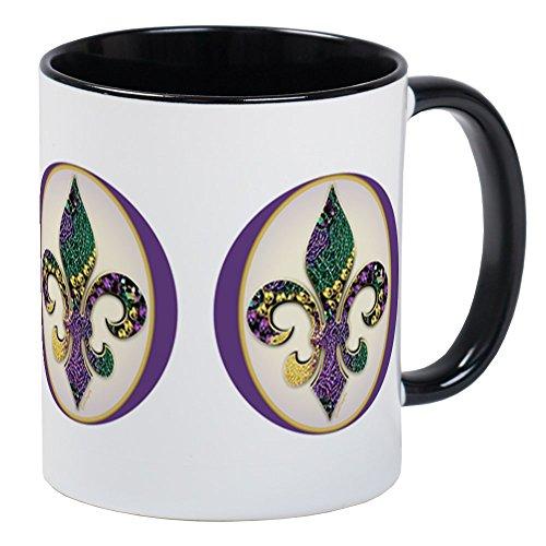 - CafePress - Fleur De Lis Mardi Gras Beads Mug - Unique Coffee Mug, Coffee Cup