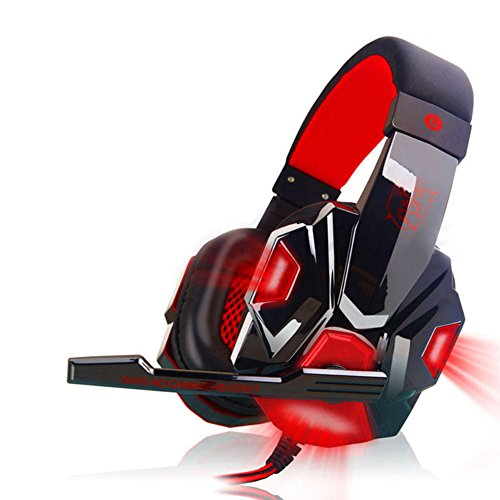 (CactusAngui Cool Glowing Gaming Headset Stereo Earphone Wired Computer Headphone with Mic Black+Red with Light)