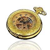 Magnifier Case Gold Color Noctilucent Hands Mens Automatic Pocket Watch