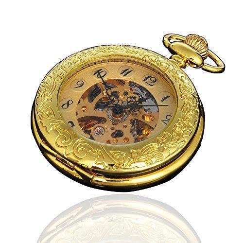 Magnifier Case Gold Color Noctilucent Hands Mens Automatic Pocket Watch by Generic