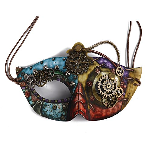 BAWASEEHI Steampunk Mask Masquerade Ball with Gears Half Face Skull Mask Halloween Cosplay