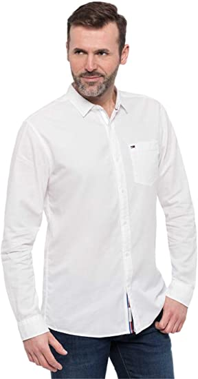 Tommy Hilfiger Camisa Ligtweight Racing Blanca: Amazon.es ...