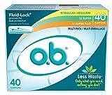 o.b. Applicator Free Digital Tampons, Regular, Super and Super Plus Multi-Pack - 40 Count