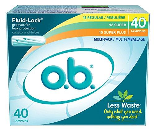 O B  Applicator Free Digital Tampons  Regular  Super And Super Plus  Multi Pack   40 Count