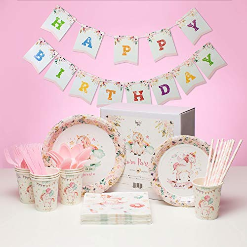 MHP Unicorn Party Decorations (Serves 16, 98 Decorations) Unicorn Birthday Party Supplies - Unicorn Decorations Include Plates, Cups, Napkins, Table Cover, Birthday Banner