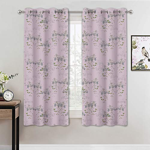 (KGORGE Bedroom Room Darkening Curtains, Iris Floral Print Window Treatment Panels for Kids Room Nursery, Block Sunlight & Brighten Home/Garden/Farmhouse (Pink-Lilac, 52 x 63 Each, One Pair))