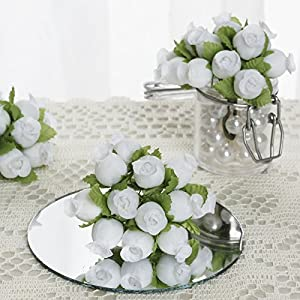 144 pcs Mini Rose Buds - Crafts DIY Wedding Favors Supplies Decorations Sale (White) 22