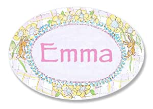 The Kids Room by Stupell Emma, Bunnies Playing with Flowers Personalized Oval Wall Plaque