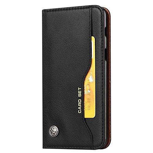 Funda para LG K8 2018, SunFay Premium Cuero PU Cover Magnético Flip Folio Ranura para Tarjetas Protective Billetera Funda Case con Stand Función para LG K8 2018 - Borgoña Rojo Negro