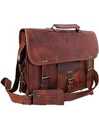 Leather Unisex Real Leather Messenger Bag for Laptop Briefcase Satchel ...