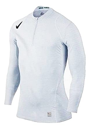 c2e2e5f8d Nike Pro Warm 1/4 Zip Men's Long Sleeve White Fitted Shirt Size S at ...