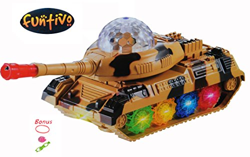FUNTIVO Bump-N-Go 360 Armored Tank Vehicle with Sound, Movement and Flashing Lights, Battery Operated, 6.5'', Kids Toy Rough Tank