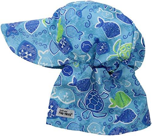 (Flap Happy Boys' Toddler' UPF 50+ Original Flap Hat, Tropical Turtle, XX-Large)