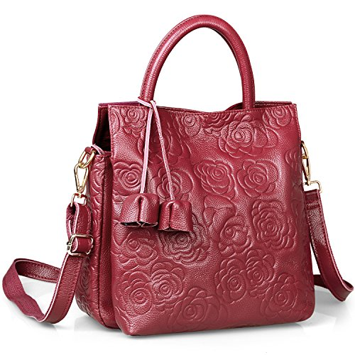 New Arrival Floral Embossed Handbags Crossbody Bags for Women Leather Satchel Purse by Jack&Chris,WB508 (Red) (Red Handbag Chic)