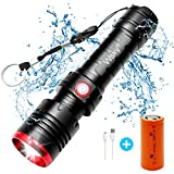 Wsky LED Tactical Flashlight - Best Rechargeable Flashlight, (7500mAh 26650 Rechargeable Battery included), Multi-modes, Zoomable, Water Resistant, Perfect For Biking Hiking Emergency Outdoor Gift